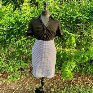 Pencil skirt, blue plaid pull on, back slit, sz. L